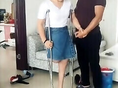 British bbw granny gets her panties and her ass fucked