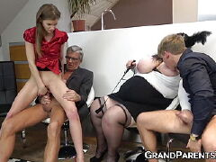 Interracial sex for a mature blonde